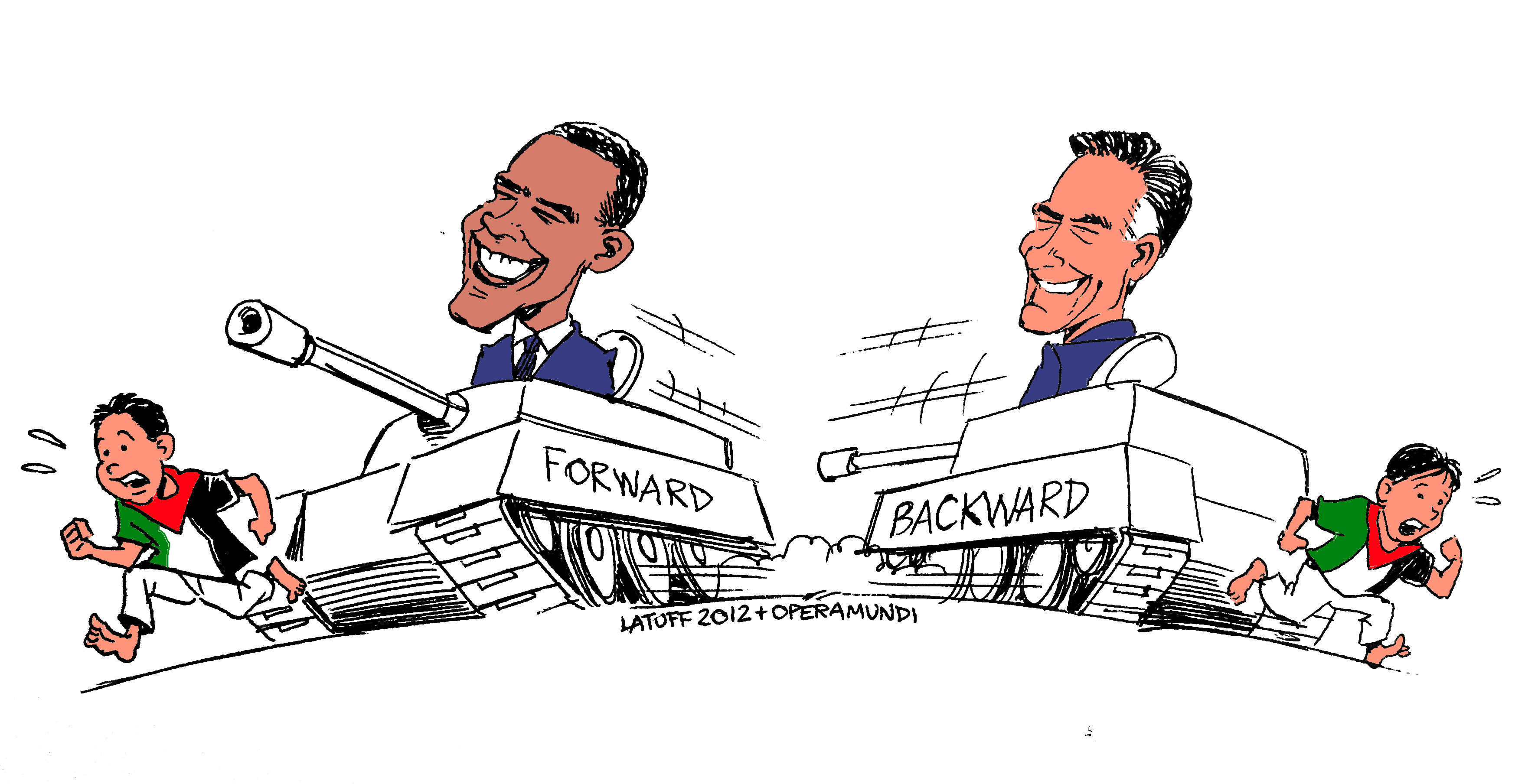 Obama Romney Caricature