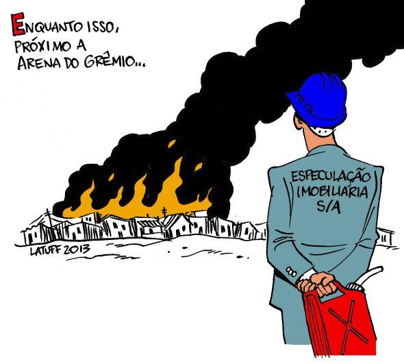 Incendio na Vila Liberdade ao redor da Arena do Gremio 27Jan2013