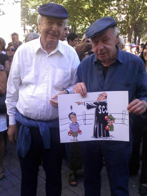 Daniel Viglietti y Eduardo Galeano con caricatura de Latuff Montevideo 15Feb2013