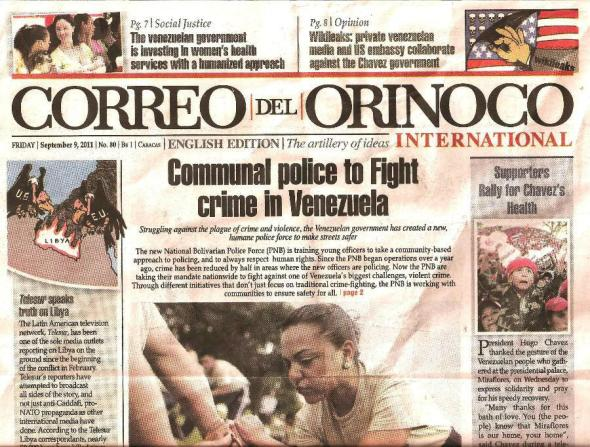 Correo del Orinoco newspaper Sept 9 2011