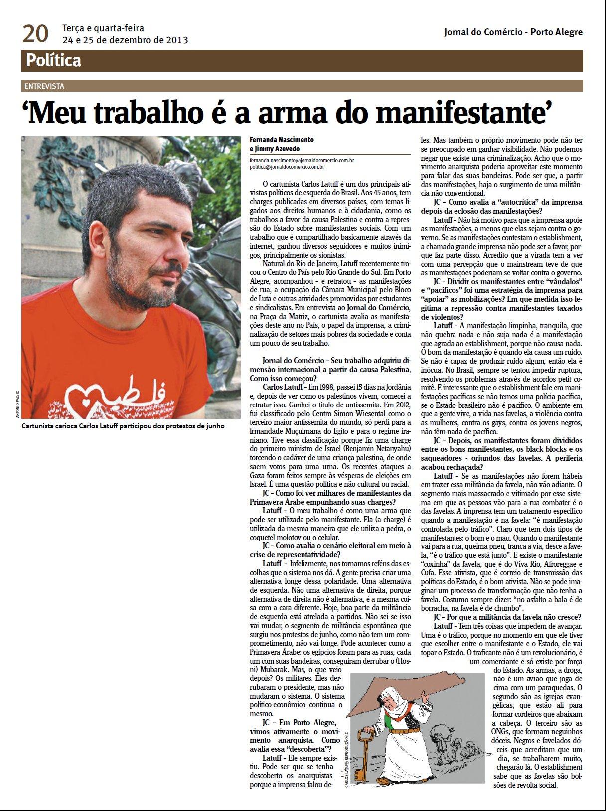 Entrevista Latuff Jornal do Comercio Porto Alegre 24Dez2013