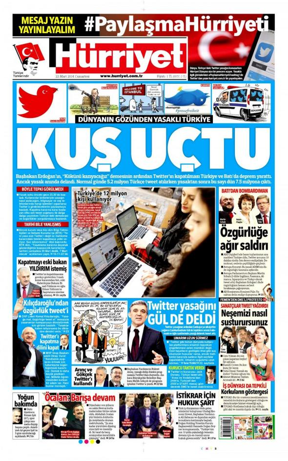 Hurriyet Turkish newspaper March22 2014