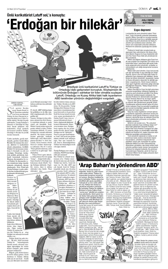 SOL Turkish Newspaper March 24 2014 A