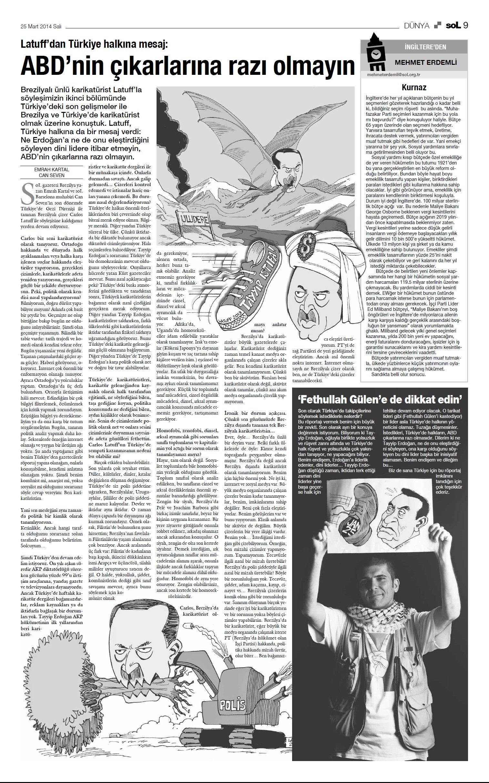 SOL Turkish Newspaper March 25 2014 B