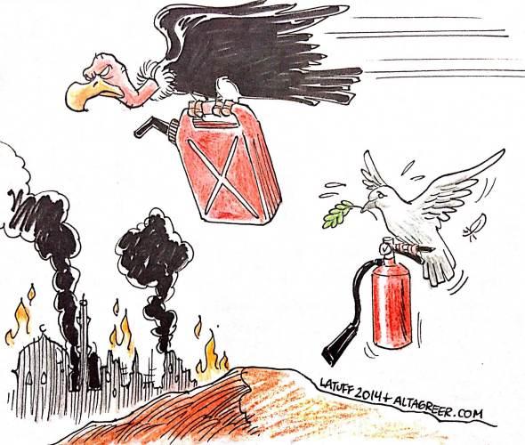 War vulture Peace dove Gaza