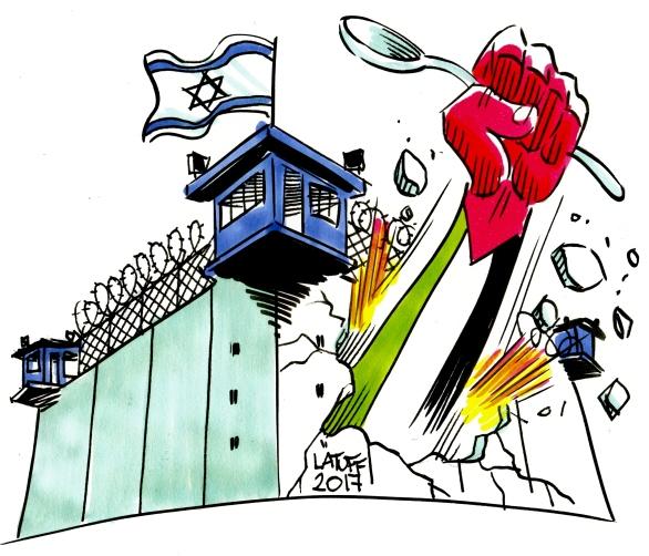 Palestinian prisoners in hunger strike cartoon