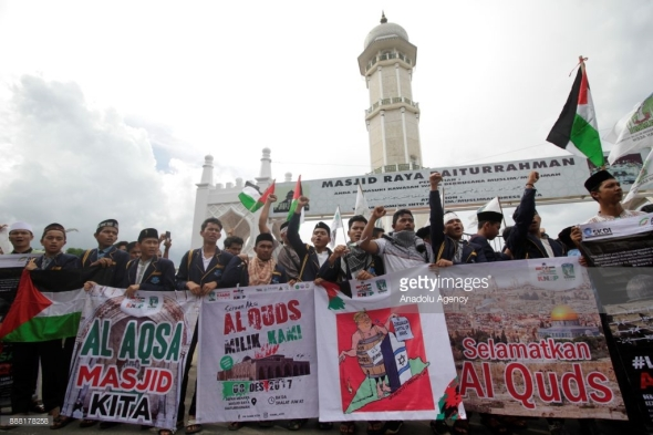 Protest against Trump Aceh Indonesia December 08 2017 Junaidi Hanafiah Anadolu Agency Getty Images
