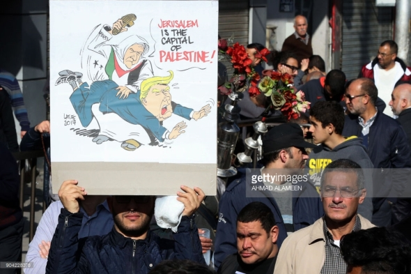 Trump protest Amman Jordan January 12 2018 AHMAD ALAMEEN AFP Getty Images