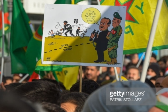 Kurds protest against Turkish military actions Cologne Germany January 27 2018 PATRIK STOLLARZ AFP Getty Images