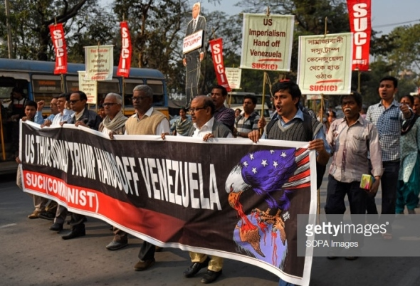 Venezuela rally Kolkata West Bengal India Photo by Avishek Das SOPAImages LightRocket Getty Images A