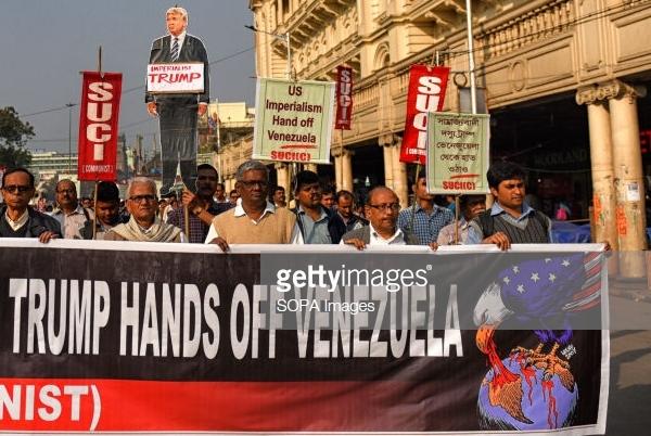 Venezuela rally Kolkata West Bengal India Photo by Avishek Das SOPAImages LightRocket Getty Images B